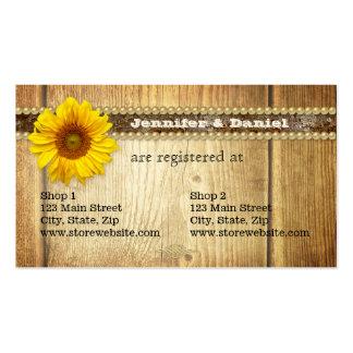 Cartão nupcial do registro do girassol rústico do  modelos cartao de visita
