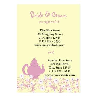 Cartão nupcial do registro do tea party cartao de visita