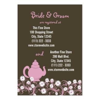 Cartão nupcial do registro do tea party cartão de visita