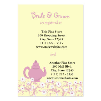Cartão nupcial do registro do tea party cartão de visita grande