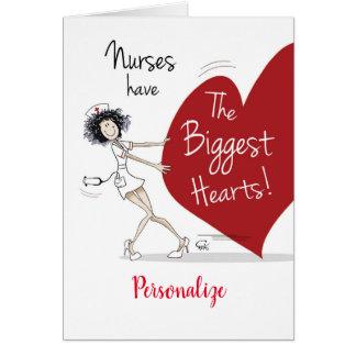 Cartão Nutre a semana. Enfermeira subtil que puxa o