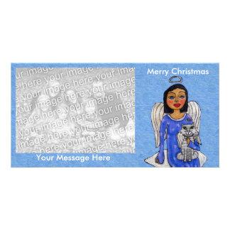 Cartão Nuvem azul do gato do anjo do branco de vestido do