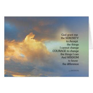 Cartão Nuvem do ouro da oração da serenidade