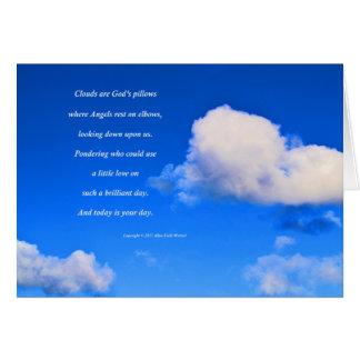 """Cartão """"Nuvens #57"""" com poema: Os travesseiros do deus"""
