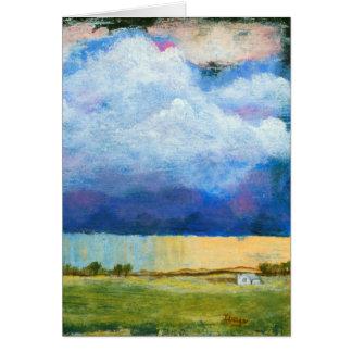 Cartão Nuvens de tempestade da chuva da casa da pintura