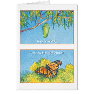 Cartão O 27:14 do salmo da borboleta de monarca