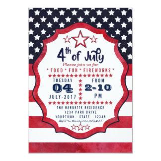 Cartão o 4o da bandeira americana de julho Stars o