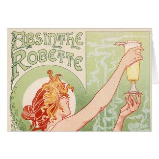 Cartão O absinto Robette - poster vintage do álcool