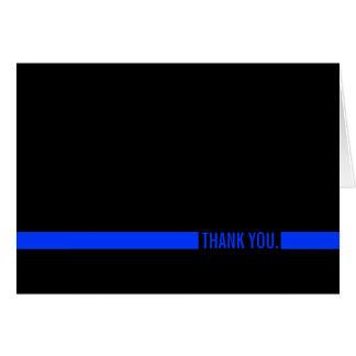 Cartão O agente da polícia Blue Line fino agradece-lhe