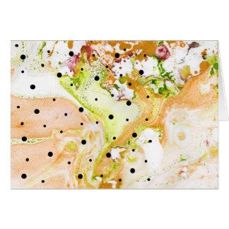 Cartão O amarelo roda com notecard das bolinhas