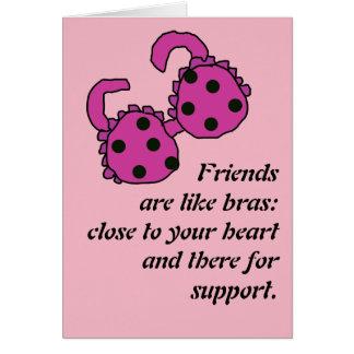 Cartão O amigo é como sutiãs