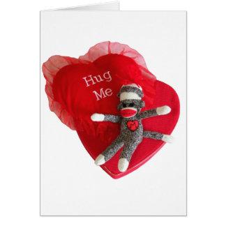 Cartão O amor #7 do macaco da peúga abraça-me