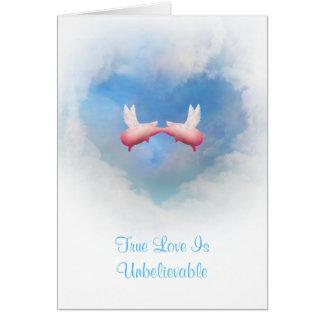 Cartão O amor Beijar-Verdadeiro de voo dos porcos é