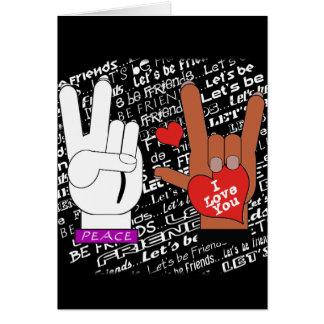 Cartão O amor da paz do ASL deixou-nos ser amigos