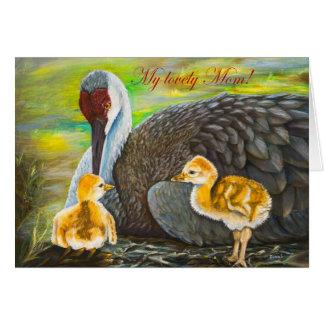 Cartão O amor de mãe do guindaste de Sandhill