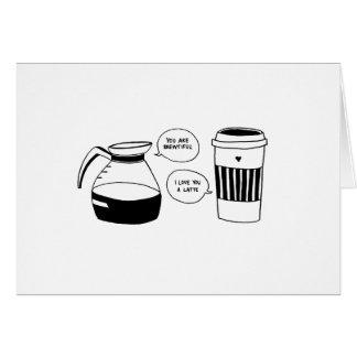 Cartão O amor dos namorados de Latte do café