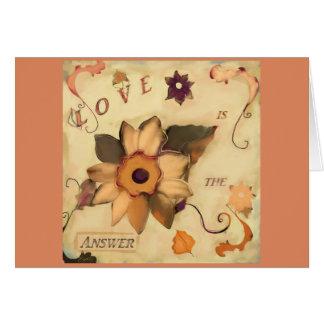 Cartão O amor é o rosa floral das citações da arte da