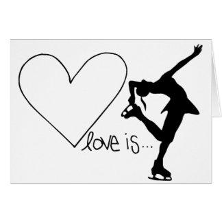 Cartão O amor é patinagem artística, patinador da menina