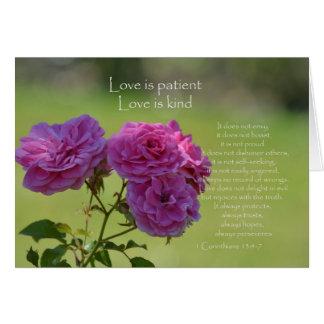 Cartão O amor é rosas pacientes