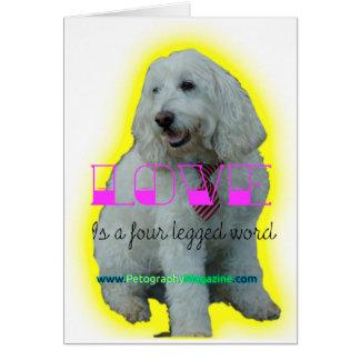 Cartão O amor é uma palavra de quatro patas