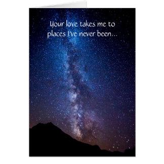 Cartão O amor ilumina nossa maneira que a Via Láctea
