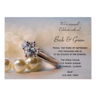 Cartão O anel de diamante e a festa de noivado das