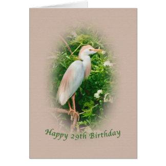 Cartão O aniversário, 29o, pássaro do Egret de gado