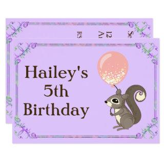 Cartão O aniversário adorável do esquilo convida