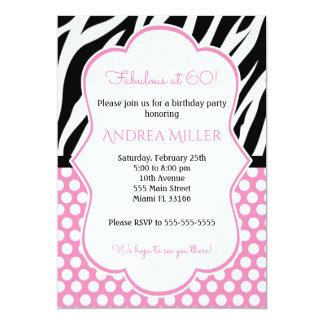 Cartão O aniversário adulto da zebra convida