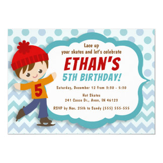 Cartão O aniversário azul do patinagem no gelo do menino