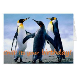 Cartão O aniversário brrrrilliant do pinguim