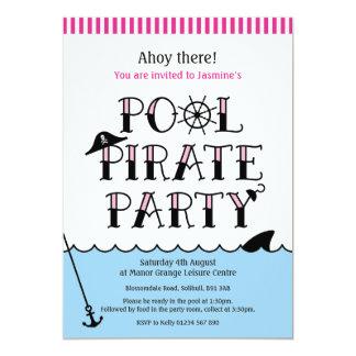Cartão O aniversário cor-de-rosa do partido do pirata da