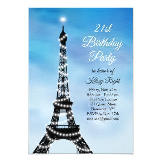 Cartão O aniversário de 21 anos Sparkling da torre Eiffel