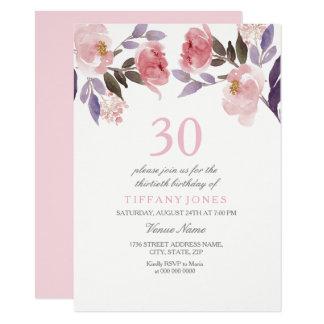 Cartão O aniversário de 30 anos floral da aguarela do