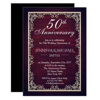 Cartão O aniversário de casamento de Borgonha do vintage