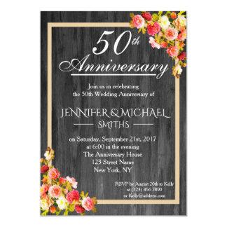 Cartão O aniversário de casamento de madeira floral