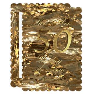 Cartão O aniversário de casamento dourado Parents o ouro