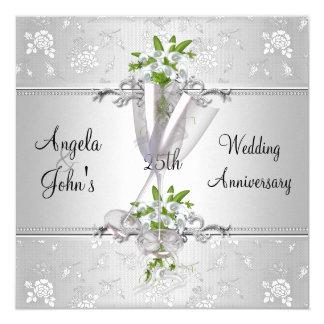 Cartão O aniversário de casamento elegante convida