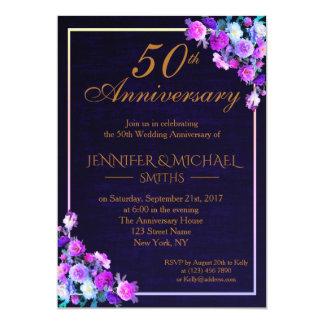 Cartão O aniversário de casamento elegante do buquê