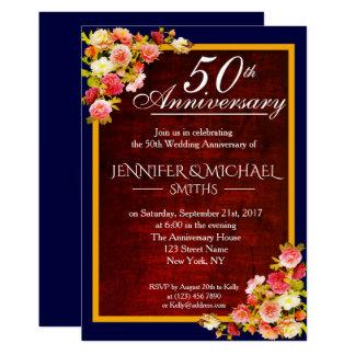Cartão O aniversário de casamento floral elegante de