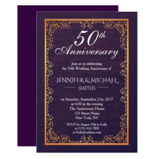 Cartão O aniversário de casamento roxo do vintage