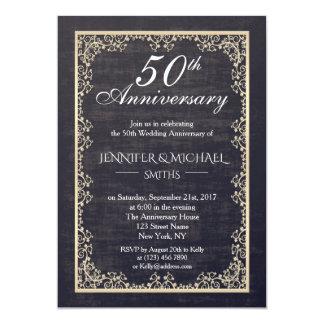 Cartão O aniversário de casamento vintage elegante