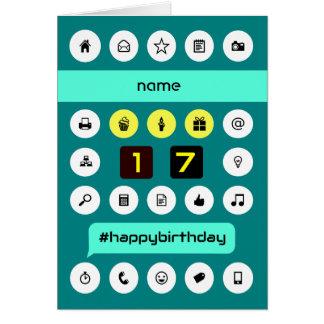 Cartão o aniversário de computação do 17o hashtag