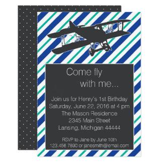 Cartão O aniversário do avião do vintage do azul de