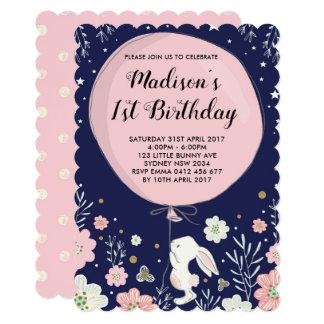 Cartão O aniversário do coelho convida a estrela de