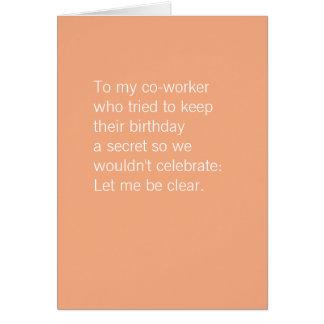 Cartão O aniversário | do colega de trabalho endurece