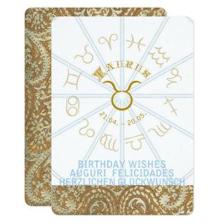 Cartão O aniversário do ~ do HORÓSCOPO convida - o Taurus