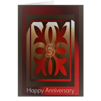 Cartão O aniversário do empregado carda 5 anos de