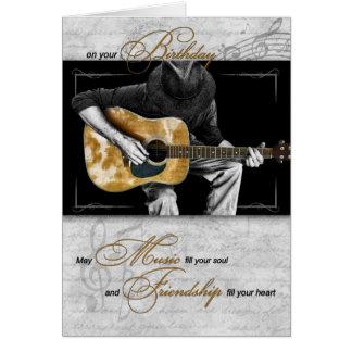 Cartão O aniversário do melómano - guitarrista clássico