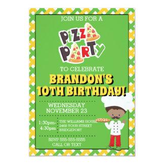 Cartão O aniversário do partido da pizza do menino do